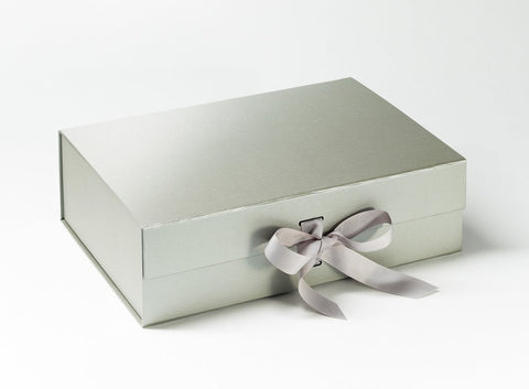 A4 Deep Pearlescent Silver Luxury Gift box with magnetic closure, and choice of ribbon (Pack of 12)
