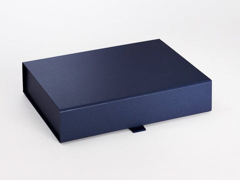 A4 Shallow Pearlescent Navy Luxury Gift box with magnetic closure (Pack of 12)