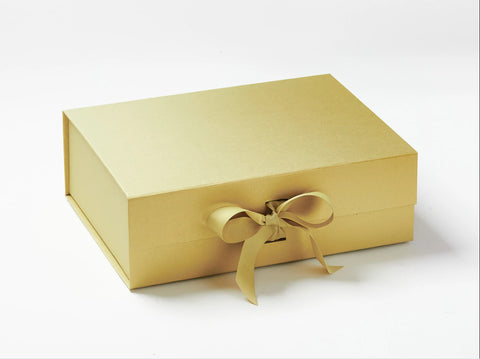 A4 Deep Pearlescent Gold Luxury Gift box with magnetic closure, and choice of ribbon (Pack of 12)