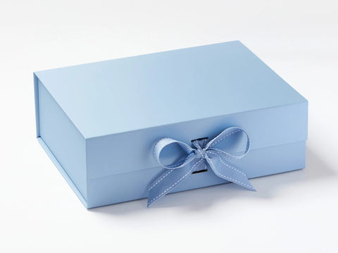 A4 Deep Pale Blue Luxury Gift box with magnetic closure, and choice of ribbon (Pack of 12)