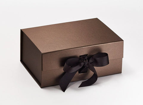 A5 Deep Pearlescent Bronze Luxury Gift box with magnetic closure, and choice of ribbon (Pack of 12)