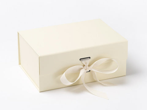 A5 Deep Ivory Luxury Gift box with magnetic closure, and choice of ribbon (Pack of 12)