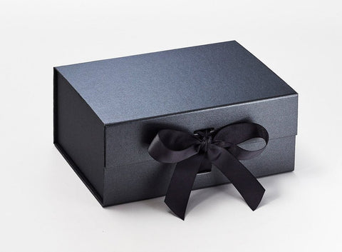 A5 Deep Pearlescent Pewter Luxury Gift box with magnetic closure, and choice of ribbon (Pack of 12)