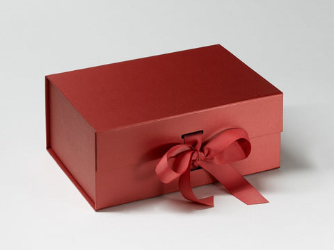 A5 Deep Pearlescent Red Luxury Gift box with magnetic closure, and choice of ribbon (Pack of 12)