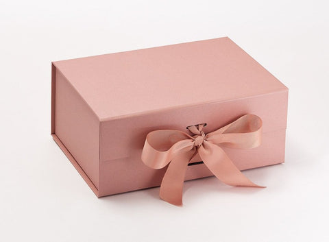 A5 Deep Pearlescent Rose Gold Luxury Gift box with magnetic closure, and choice of ribbon (Pack of 12)