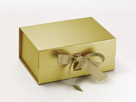 A5 Deep Pearlescent Gold Luxury Gift box with magnetic closure, and choice of ribbon (Pack of 12)
