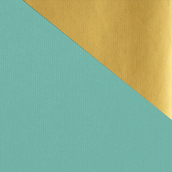Kraft Colours Gift Wrap Sheets - Aqua/Gold Double-sided (250)