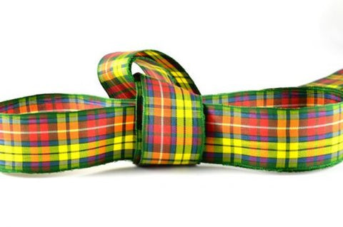 Buchanan Yellow Tartan Ribbon, in a range of widths