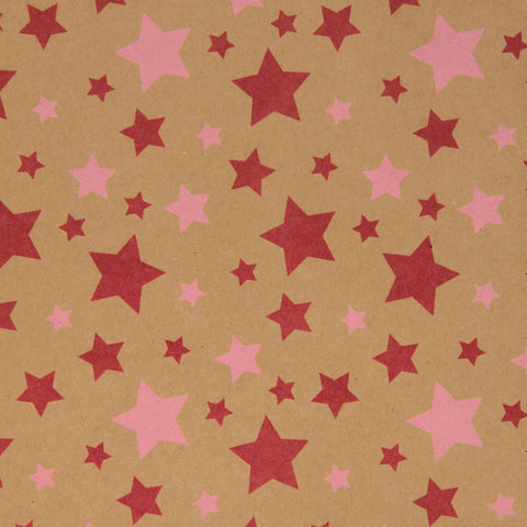 Kraft Stars Pink Giftwrap - Enquire for Rolls or Sheets