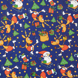 Skating Reindeer on Blue Novelty Counter Roll (100m x 50cm)