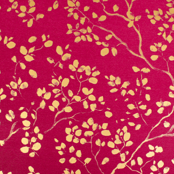 Forest Art Gold on Dark Red Counter Roll (100m x 50cm)