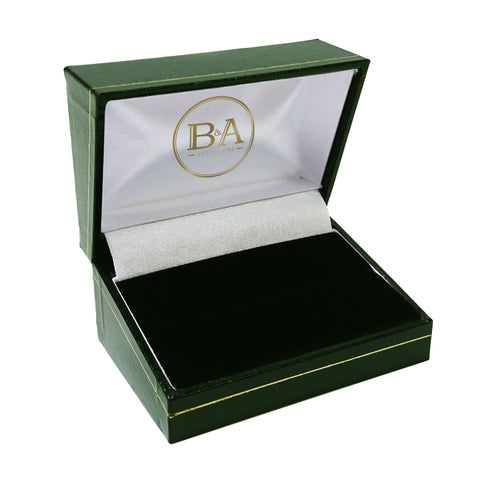 Regent Double Ring box, Green with gold trim
