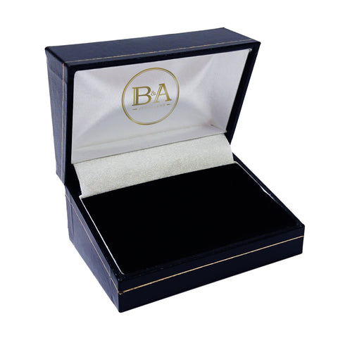 Regent Double Ring box, Navy with gold trim