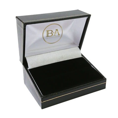 Regent Double Ring box, Black with gold trim
