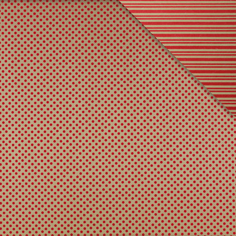 Gift Wrap Sheets - Eco-Spot Stripe Red on Kraft (Pack of 25 sheets)
