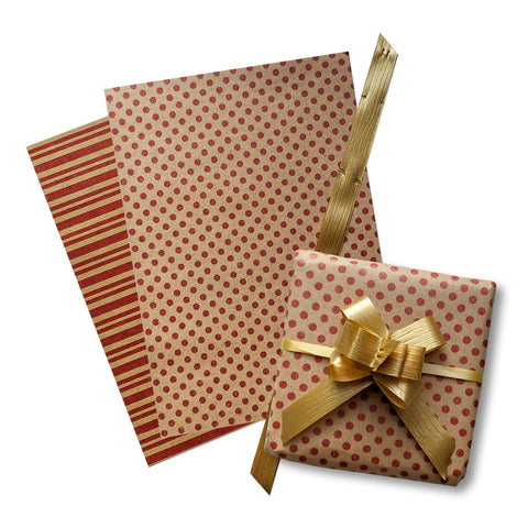 Eco Spot-Stripe Red on Kraft Adtakart Pack