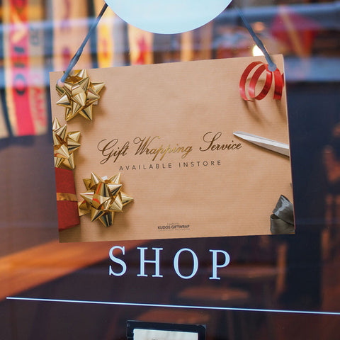 Gift Wrapping Service available instore, bespoke signage
