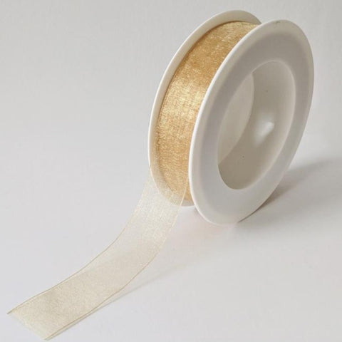 Plain Chiffon Gold Ribbon (25mm x 25m)