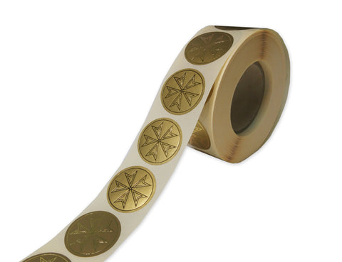 Plain Gold Maltese Star Labels (1000 per Roll)
