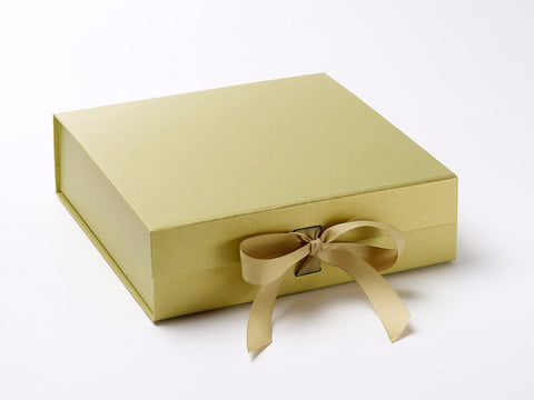 Large Pearlescent Gold Luxury Gift box with magnetic closure, and choice of ribbon (Pack of 12)