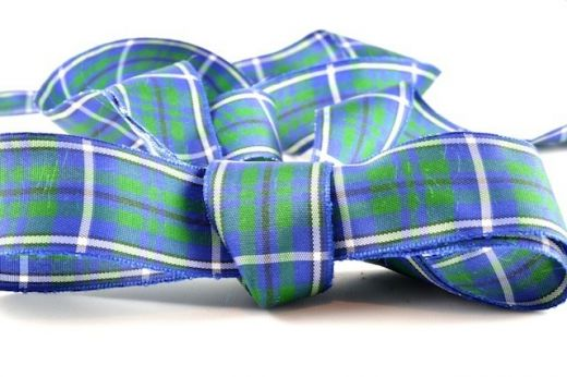 Gordon Blue Tartan Ribbon, in a range of widths