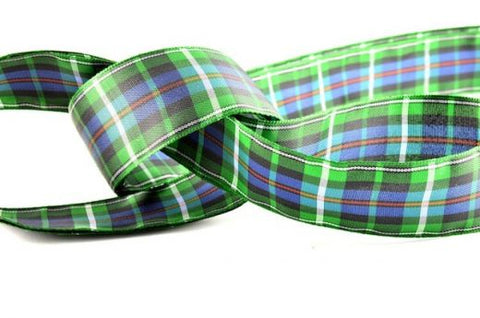 Green Tartan Ribbon (25mm x 25m)