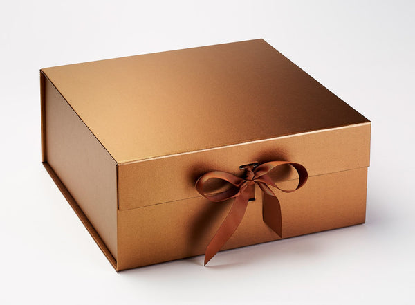 XL Deep Copper Luxury Gift box with magnetic closure, and choice of ribbon (Pack of 12)