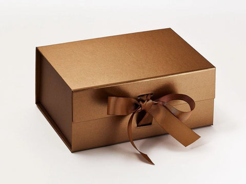 A5 Deep Pearlescent Copper Luxury Gift box with magnetic closure, and choice of ribbon (Pack of 12)