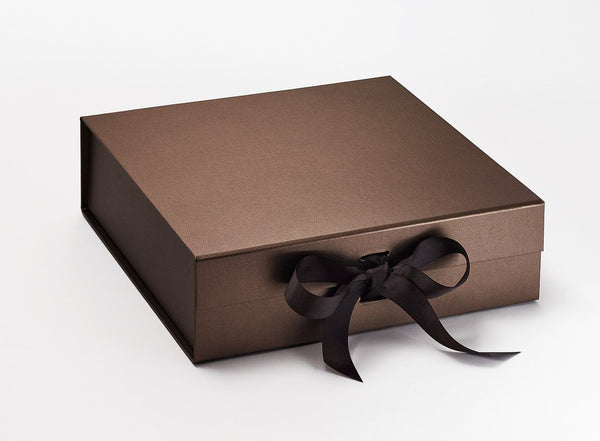 Large Pearlescent Bronze Luxury Gift box with magnetic closure, and choice of ribbon (Pack of 12)