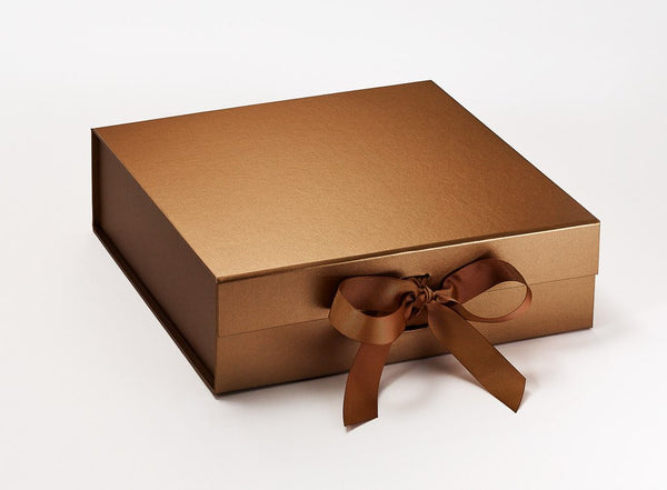 Large Pearlescent Copper Luxury Gift box with magnetic closure, and choice of ribbon (Pack of 12)
