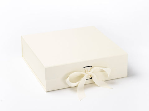 Large Ivory Luxury Gift box with magnetic closure, and choice of ribbon (Pack of 12)