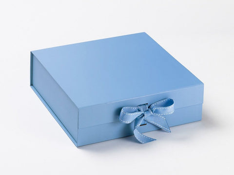 Large Pale Blue Luxury Gift box with magnetic closure, and choice of ribbon (Pack of 12)