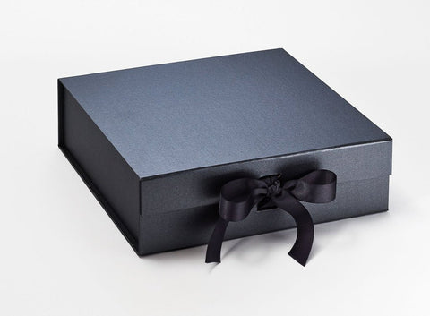 Large Pearlescent Pewter Luxury Gift box with magnetic closure, and choice of ribbon (Pack of 12)