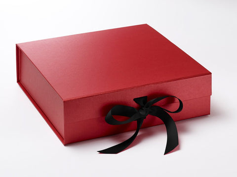 Large Pearlescent Red Luxury Gift box with magnetic closure, and choice of ribbon (Pack of 12)