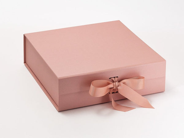 Large Pearlescent Rose Gold Luxury Gift box with magnetic closure, and choice of ribbon (Pack of 12)