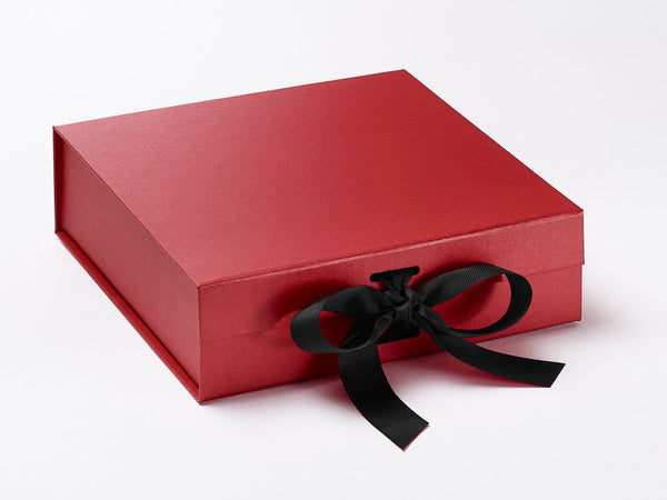 Medium Pearlescent Red Luxury Gift box with magnetic closure, and choice of ribbon (Pack of 12)