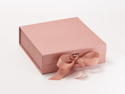 Medium Pearlescent Rose Gold Luxury Gift box with magnetic closure, and choice of ribbon (Pack of 12)