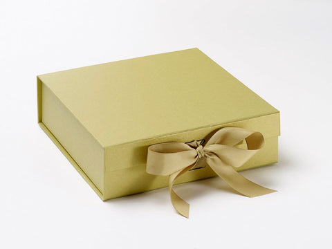 Medium Pearlescent Gold Luxury Gift box with magnetic closure, and choice of ribbon (Pack of 12)