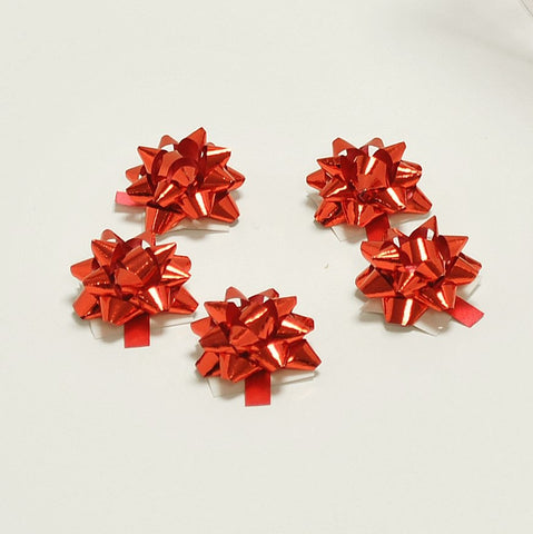 Metallic Red Micro Bows (100)