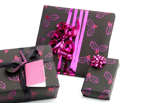 Pink Holly Christmas Counter Roll (250m x 50cm)