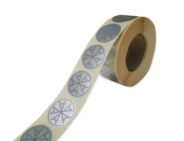 Plain Silver Maltese Star Labels (1000 per Roll)