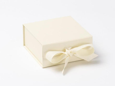 Small Ivory Luxury Gift box with magnetic closure, and ribbon (Pack of 12)