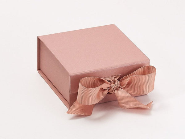 Small Pearlescent Rose Gold Luxury Gift box with magnetic closure, and ribbon (Pack of 12)