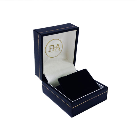 Regent Stud Earring box, Navy with gold trim