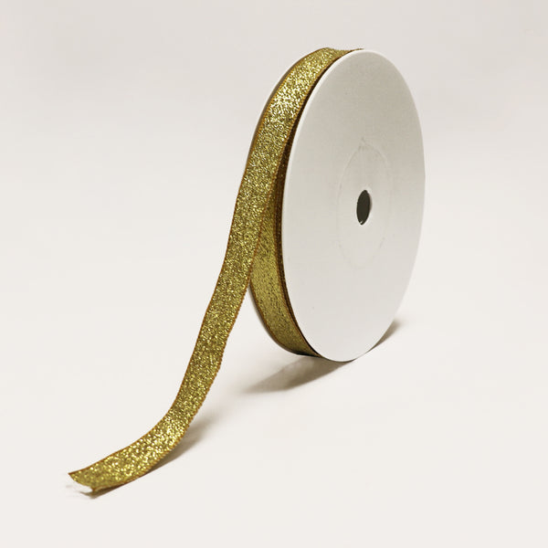 New York Glitter Wired Gold Ribbon (15mm x 25m)