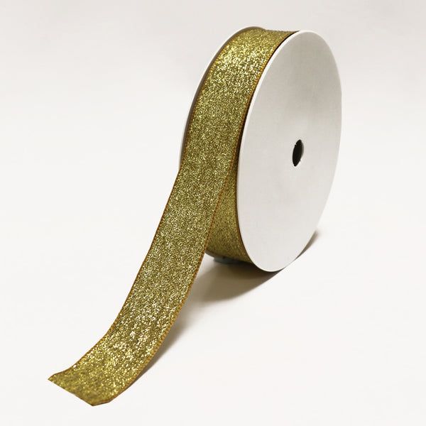 New York Glitter Wired Gold Ribbon (30mm x 25m)