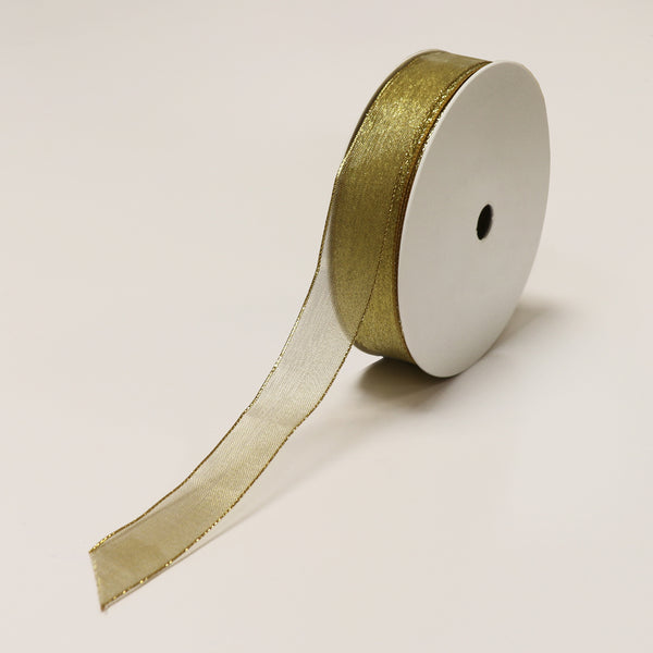 Gold Brass Wired Ribbon (25mm x 100m)