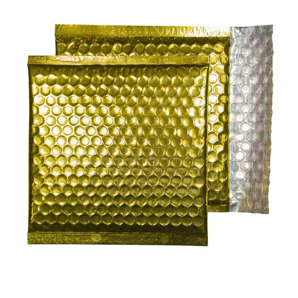Glitzy Rich Gold Metallic Jiffy Bags (165mm x 165mm - pack 100)