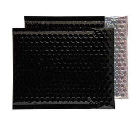 Glitzy Glossy Black Metallic Jiffy Bags (230mm x 230mm - pack 100)