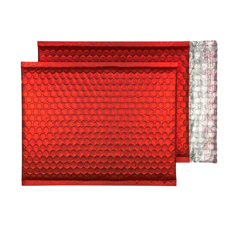 Glitzy Christmas Red Matt Jiffy Bags (250mm x 180mm - pack 100)